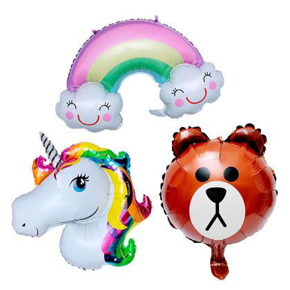Coffret ballon aluminium, Arc-en-ciel de sourire, ours et licorne, 3mcx/paquet - LIVINGbasics™