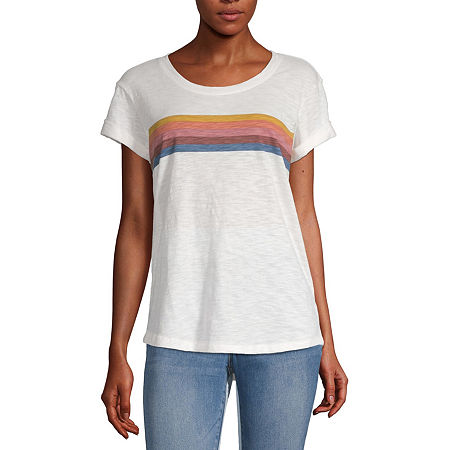 a.n.a-Womens Round Neck Short Sleeve T-Shirt, Petite X-large , White