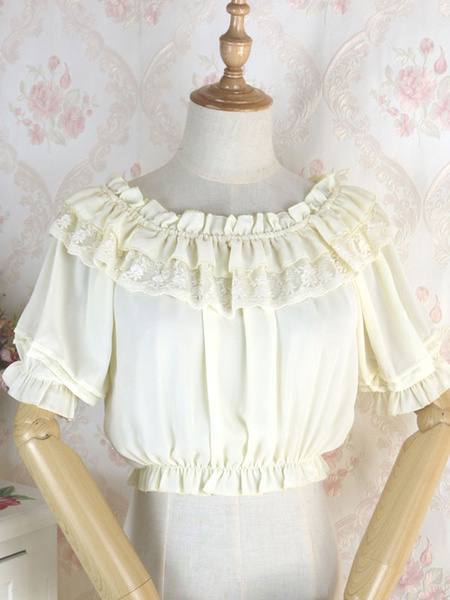 Milanoo Classic Lolita Blouse Lace Ruffle Chiffon White Lolita Top