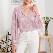 Ruffle Trim Buttoned Front Appliques Top Without Bra