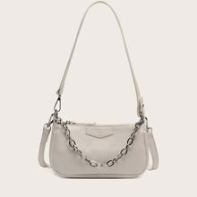 Chain Decor Baguette Bag