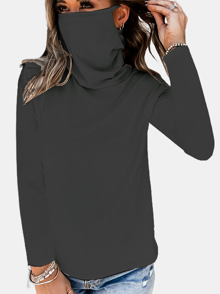 Solid Color Long Sleeve Pile Neck Mask Sweater For Women