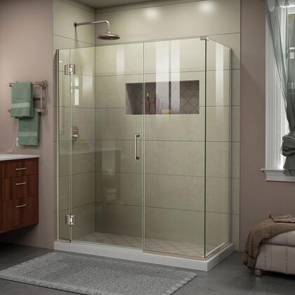 E1292234-04 Unidoor-X 57 W X 34 3/8 D X 72 H Frameless Hinged Shower Enclosure In Brushed
