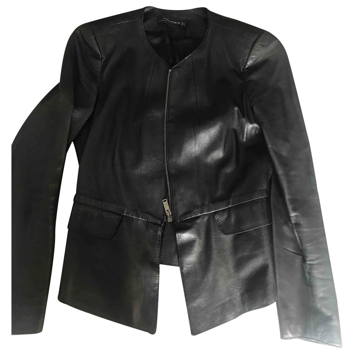 Zara - Blouson   pour femme en cuir - noir