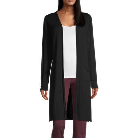 Liz Claiborne Womens Long Sleeve Cardigan, Medium , Black