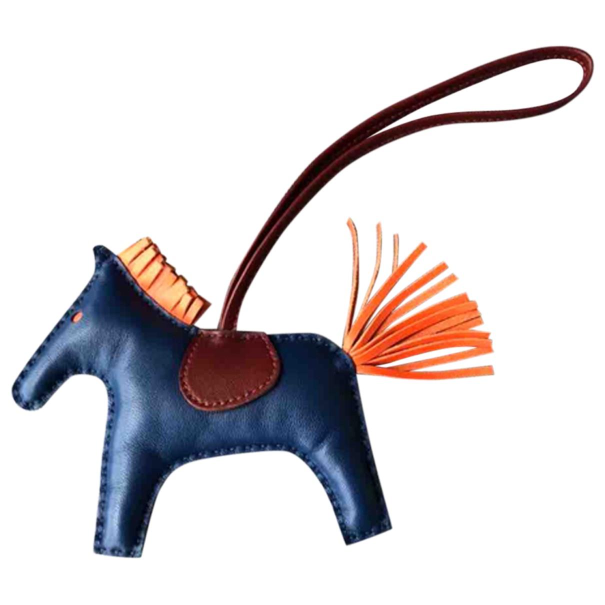 Hermes Rodeo Taschenschmuck in  Blau Leder