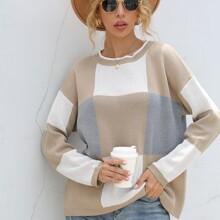 Plaid Colorblock Drop Shoulder Sweater