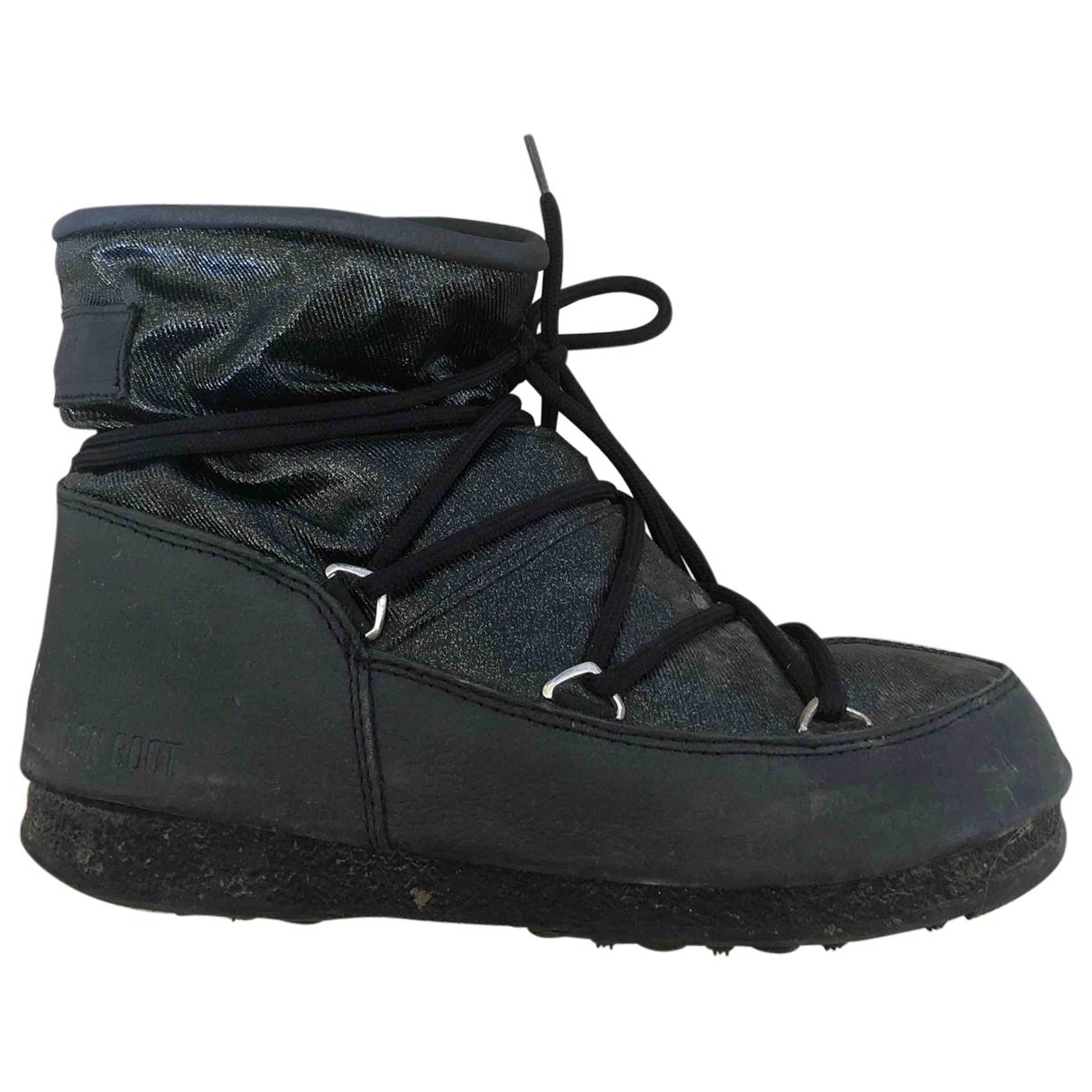 Moon Boot - Bottes   pour femme en toile - noir