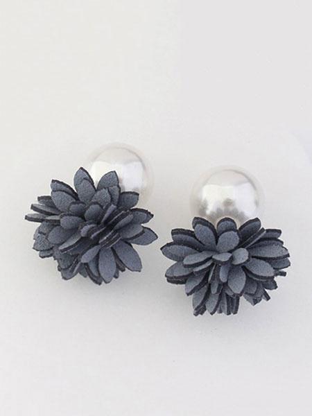 Milanoo Flower Pearl Earrings Grey Women's Stud Earrings