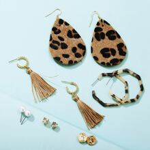 6 Paare geometrische Ohrringe