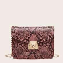 Snakeskin Print Chain Crossbody Bag