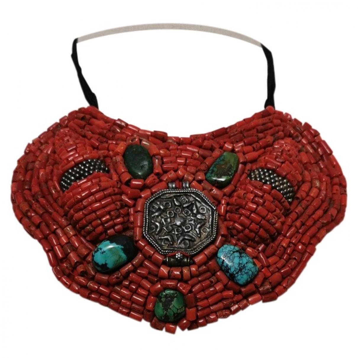 - Collier Motifs Ethniques pour femme en perles - rouge
