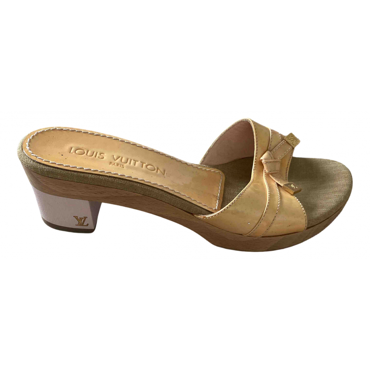 Louis Vuitton N Beige Leather Mules & Clogs for Women 37.5 IT