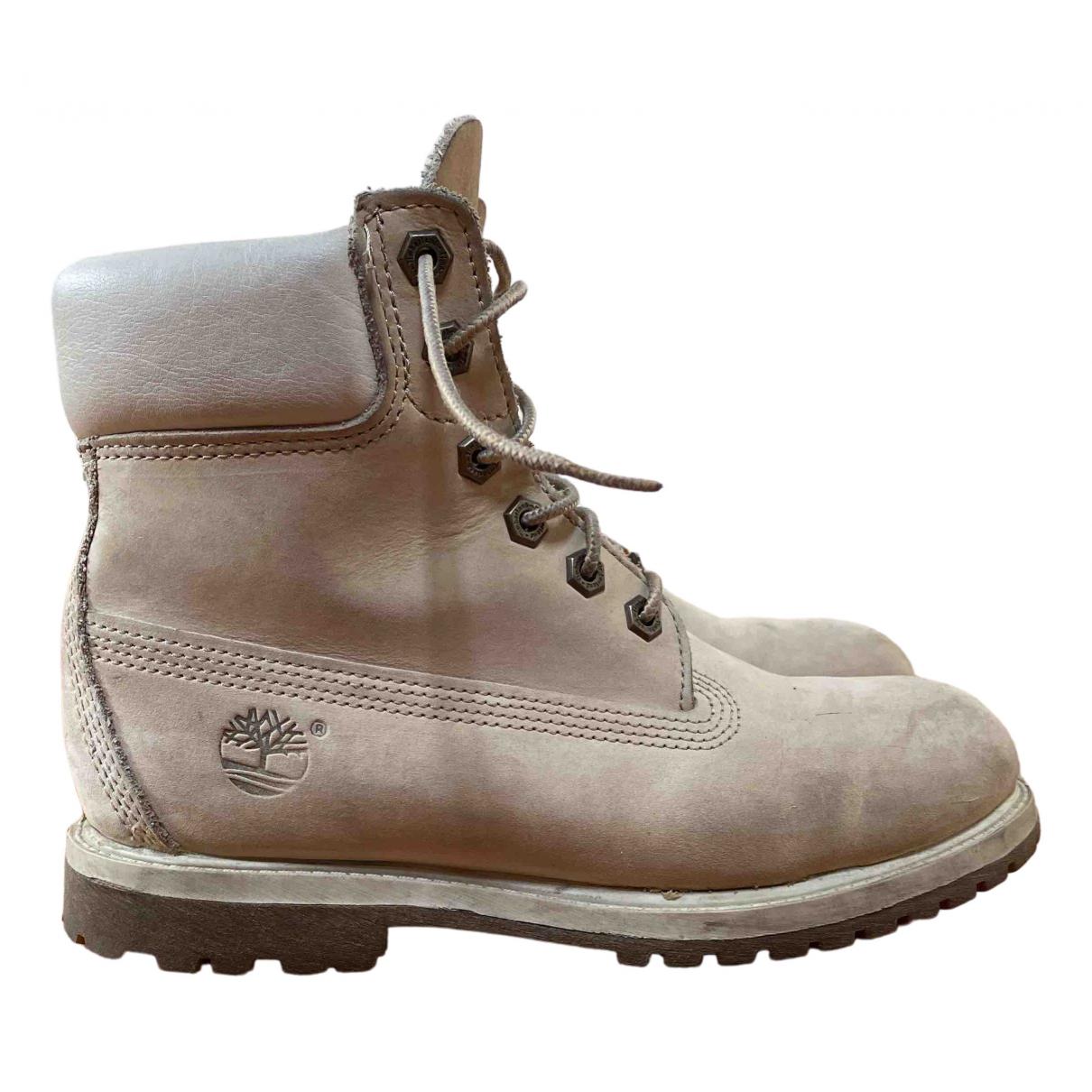Timberland - Boots   pour femme en cuir - blanc