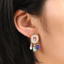 Gemstone Tassel Drop Earrings