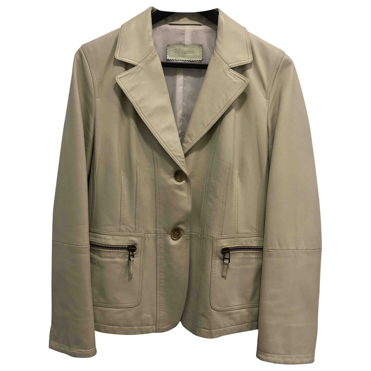 Non Signé / Unsigned \N Beige Leather jacket for Women 42 FR