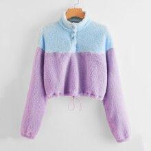 Pullover teddy bajo con cordon de dos colores