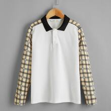 Polo Shirt mit Kontrast Kragen und Karo Muster