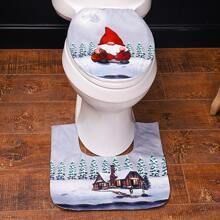2 Stuecke Toilettensitzbezug mit Weihnachten Muster