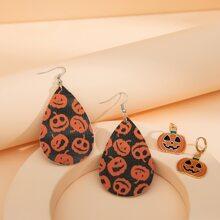 2 pares pendientes largos de niñas con diseño de calabaza de Halloween