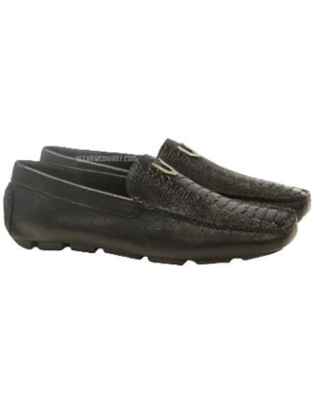 Men's Black Handmade Vestigium Genuine Ostrich Leg Loafers