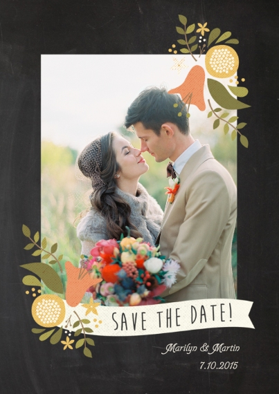 Save the Date 5x7 Cards, Premium Cardstock 120lb with Scalloped Corners, Card & Stationery - Save the Date Chalkboard