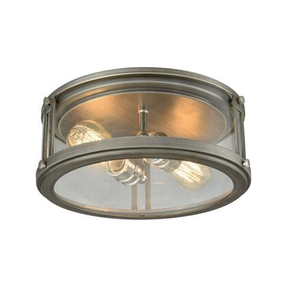 11880/2 Coby 2-Light Flush Mount in Weathered Zinc with Polished Nickel