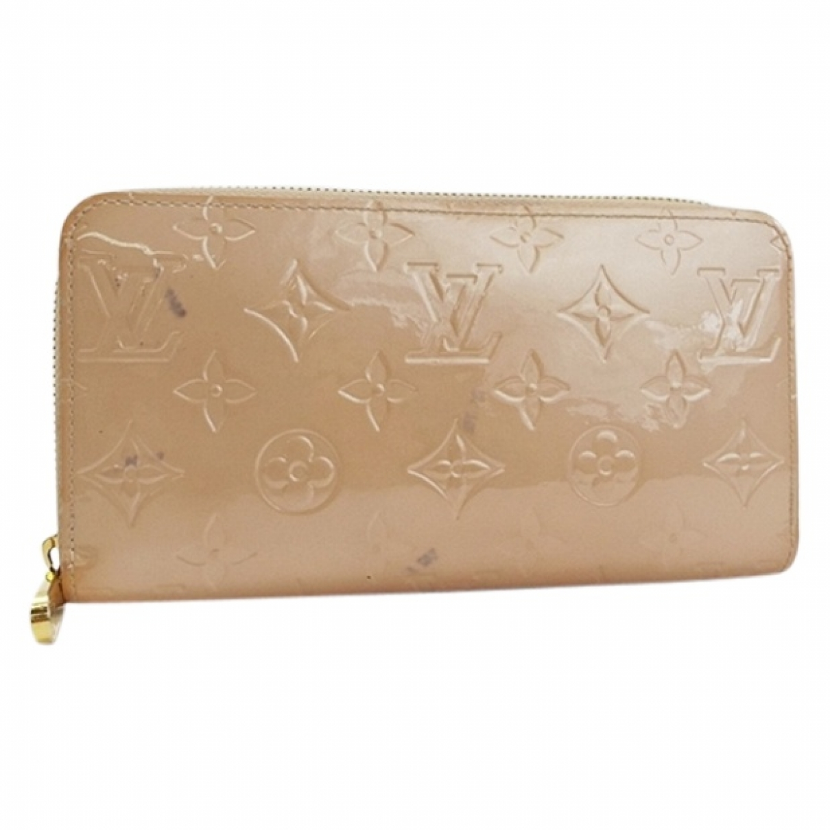 Louis Vuitton Zippy Portemonnaie in  Beige Lackleder
