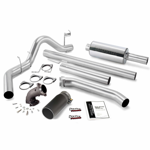 Monster Exhaust System W/Power Elbow Single Exit Black Round Tip 98-02 Dodge 5.9L Extended Cab Banks Power 48638-B