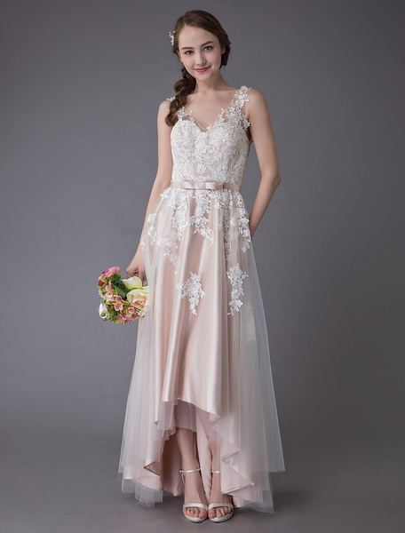 Milanoo Lace Wedding Dresses High Low Bow Sash Tulle Applique Summer Beach Colored Bridal Gowns