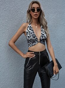 O-Ring Linked Tie Back Backless Leopard Halter Top