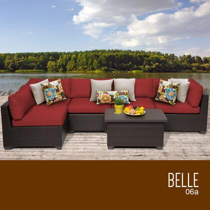 BELLE-06a-TERRACOTTA Belle 6 Piece Outdoor Wicker Patio Furniture Set 06a with 2 Covers: Wheat and