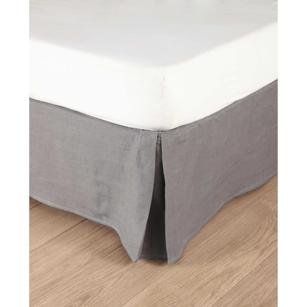 Bettrahmenbezug 160 x 200 cm aus grobem Leinen grauen Morphee