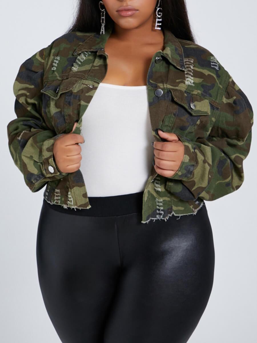 LW Lovely Trendy Turndown Collar Camo Print Plus Size Denim Jacket