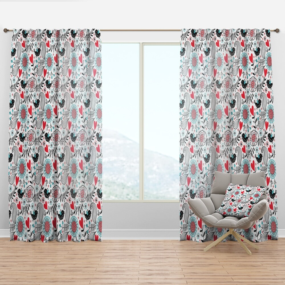 Designart 'Colorful Contract Floral Pattern' Traditional Curtain Panel (50 in. wide x 120 in. high - 1 Panel)