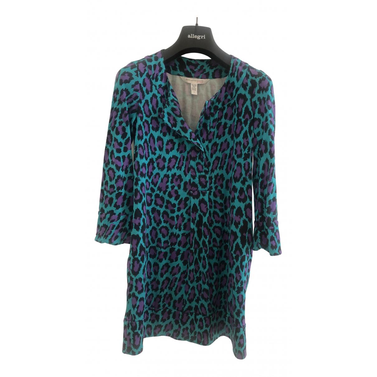 Diane Von Furstenberg - Robe   pour femme en soie - turquoise