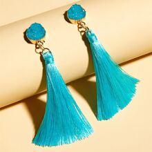 1pair Tassel Charm Drop Earrings