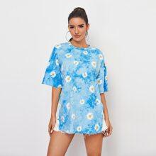 Camisetas Particion Floral Azul Casual
