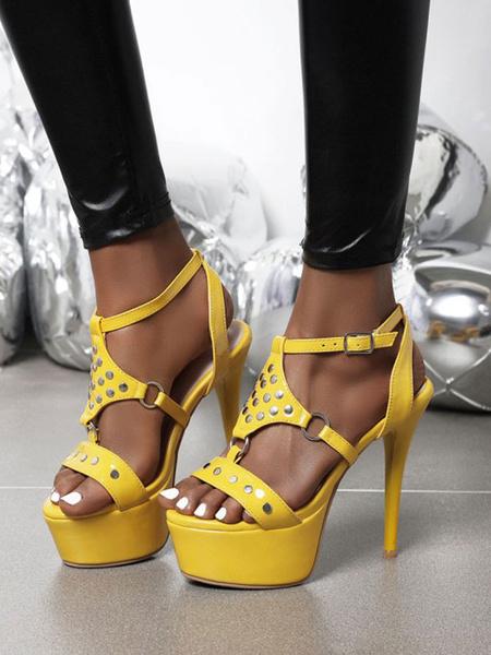 Milanoo Sandalias sexy de tacon alto Patente amarilla PU Zapatos de punta redonda superior sexy
