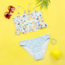 Bikini Badeanzug mit Pflanzen & Streifen Muster und Rueschen