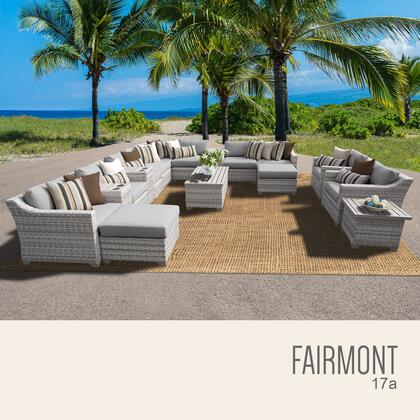 FAIRMONT-17a-GREY Fairmont 17 Piece Outdoor Wicker Patio Furniture Set 17a with 2 Covers: Beige and