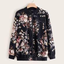 Ubergrosse Jacke mit Reissverschluss und Blumen Muster