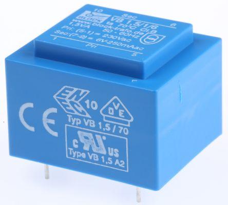 Block 6V ac 1 Output Through Hole PCB Transformer, 1.5VA