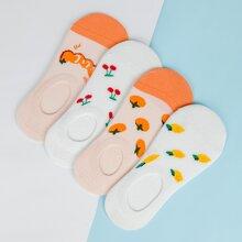 4 Paare Bunte Socken mit niedrigem Schnitt