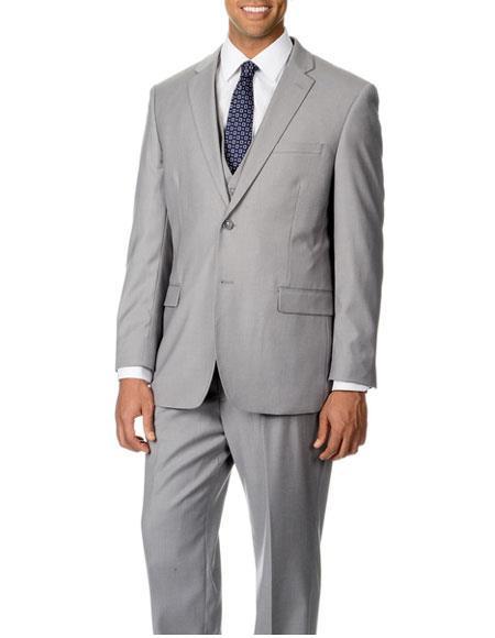 Men's Single Breasted 2 Button Light Grey Notch Lapel Modern Fit Suit