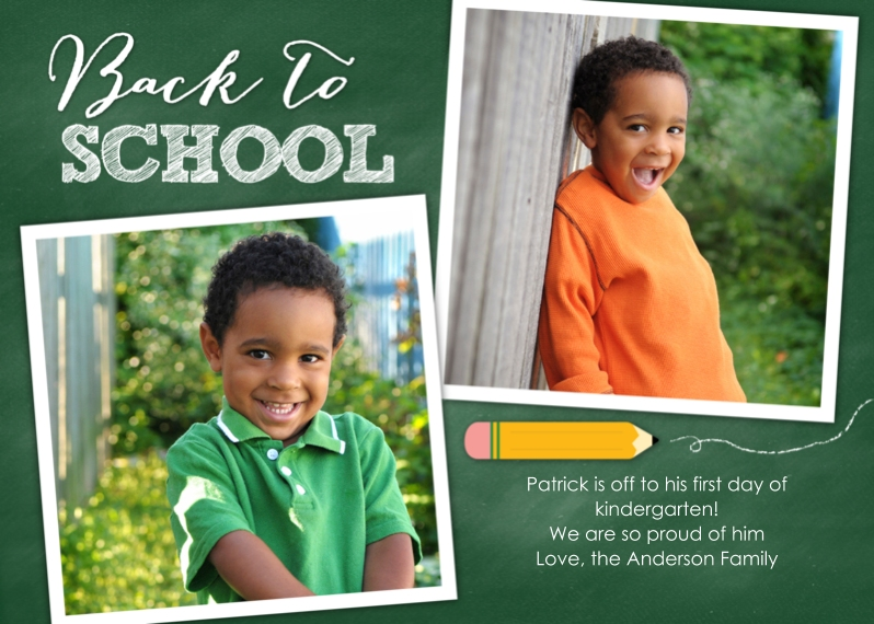 Back to School Flat Matte Photo Paper Cards with Envelopes, 5x7, Card & Stationery -Back to School Pencil Green