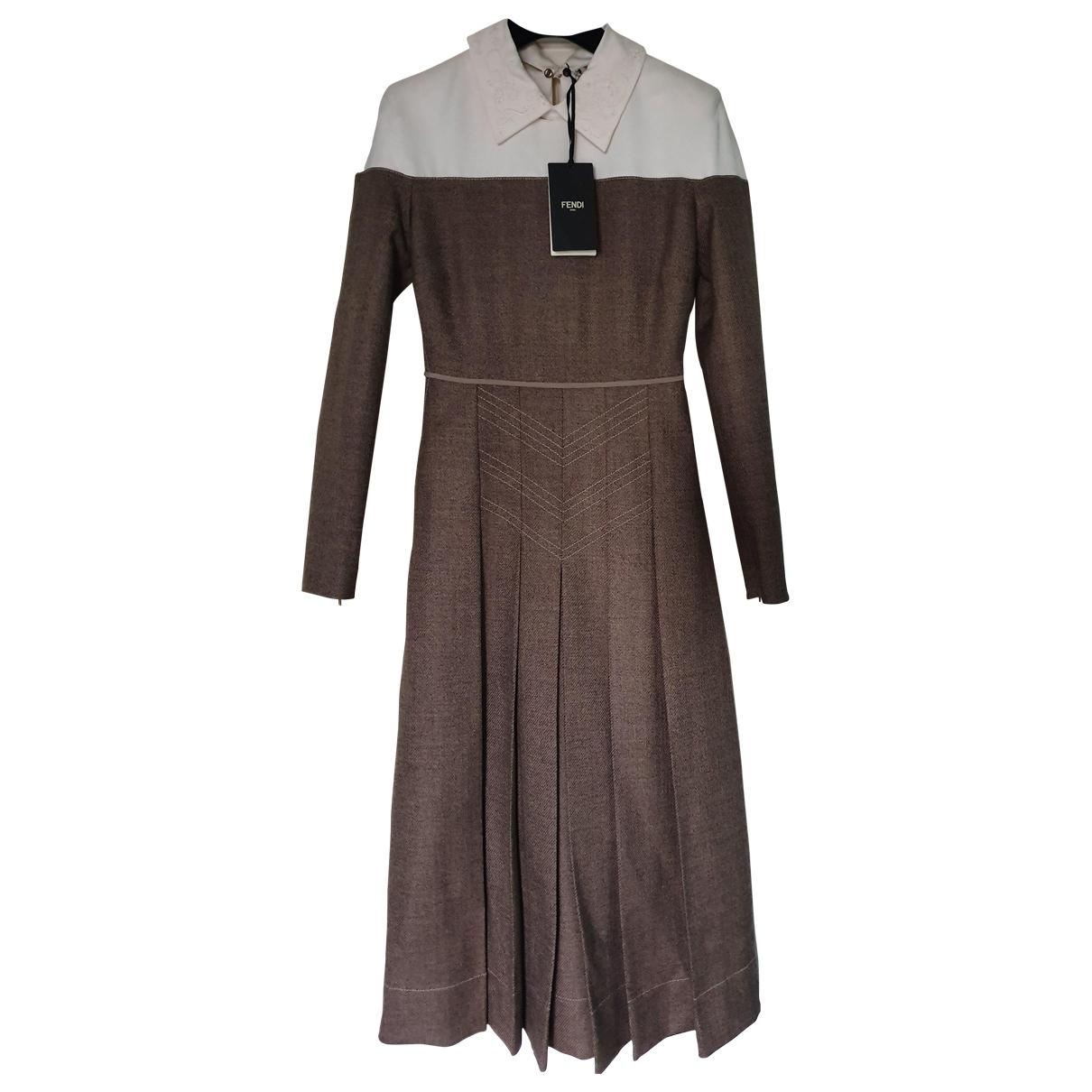 Fendi - Robe   pour femme en laine - marron