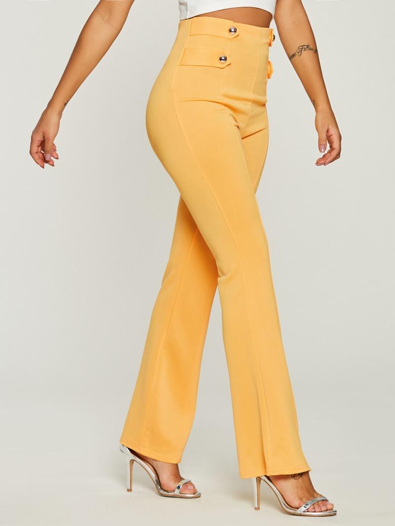 Ericdress High-Waist Button Pure Color Pants