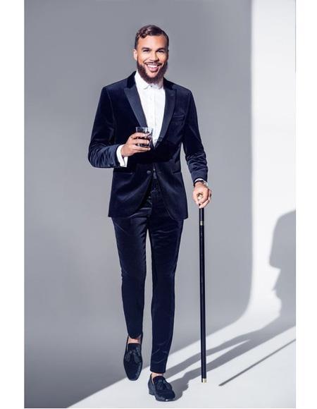 Men's Slim Fit Suit Navy Blue Besom Pockets Velvet Tuxedo