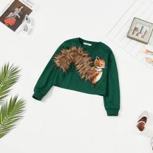 Pullover mit Eichhornchenschwanz Kunstpelz